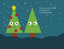 Weihnachtskarte: Verzierte Weihnachtsbäume Lizenzfreie Stockfotografie
