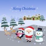 Weihnachtskarte Weihnachtsmann, Schneemann, Pinguin und Rotwild lizenzfreie abbildung