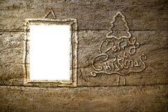 Weihnachtskarten-Fotorahmen rustikal Stockfotografie