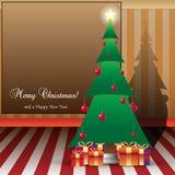 Weihnachtskarten-Illustration Baum und peasents mit Lizenzfreies Stockbild