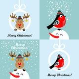 Weihnachtskarten mit Karikaturrotwild und -Dompfaffen Photorealistic Ausschnittskizze stockfoto