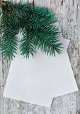 Weihnachtskarten mit Tannenzweig Stockfoto