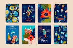 Weihnachtskarten mit Tanzenfrauen und Symbolen des neuen Jahres s Lizenzfreie Stockfotografie