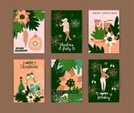 Weihnachtskarten mit Tanzenfrauen und Symbolen des neuen Jahres s Stockfotografie