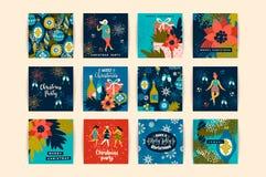 Weihnachtskarten mit Tanzenfrauen und Symbolen des neuen Jahres s Stockfotos