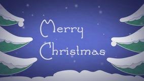 Weihnachtskartenanimation mit Schnee auf englisch stock footage