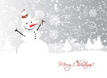 Weihnachtskartendesign mit lustigem Schneemann Lizenzfreies Stockfoto
