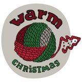 Weihnachtskartendesign mit warmem Weihnachten wünscht Titel Kugel des Wollegarns Thread-Weihnachtsbaum Gezeichnetes Vektordesign  Stockbilder