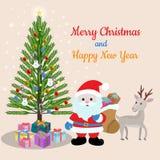 Weihnachtskartendesign mit Weihnachtsmann-Rotwild und -geschenk lizenzfreie abbildung