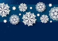 Weihnachtskartenentwurf der weißen Schneeflocke auf blauem Hintergrund vektor abbildung