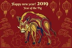 Weihnachtskartenjahr des dekorativen Ebers des Schweins auf einem Kalender-Laternengold des roten Hintergrundes chinesischen stockbilder