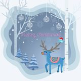 Weihnachtskartenrotwild in der Winterpapier-Kunstart vektor abbildung