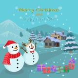 Weihnachtskartenschneemann und -Geschenkbox im Winter lizenzfreie abbildung