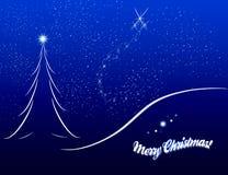 Weihnachtskartenskizze auf blauem Hintergrund Stockbilder