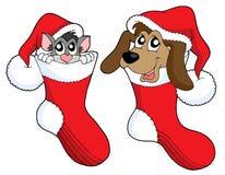 Weihnachtskatze- und -hundevektor Stockbild