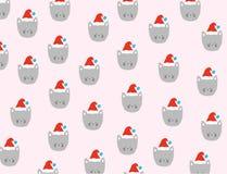Weihnachtskatzen-Mustervektor Lizenzfreie Stockbilder