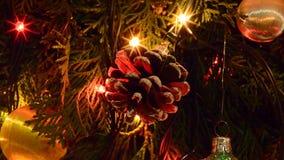 Weihnachtskegel und -lichter stock footage