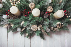 Weihnachtskegelkerzenständer Stockfotos