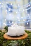 Weihnachtskerzen auf einem Tannenzweig Stockfoto