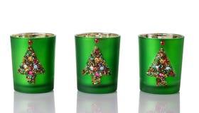 Weihnachtskerzen-Halter auf Weiß Stockbild