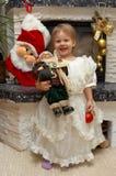 Weihnachtskind mit Weihnachtsmann Stockbilder