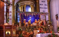 Weihnachtskinderkrippen-Altar Parroquia-Kirche San Miguel de Allende Mexiko Lizenzfreie Stockbilder
