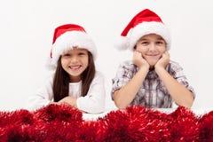 Weihnachtskinderlächeln Stockbild
