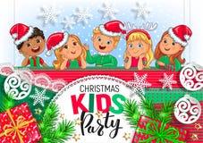 Weihnachtskinderparteidesign lizenzfreies stockfoto