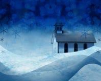 Weihnachtskirche-Schneeszene Stockbilder