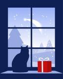 Weihnachtskomet außerhalb des Fensters Stockfotografie