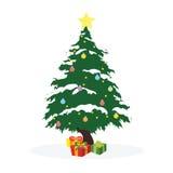 Weihnachtskonzept durch Baum und Geschenkbox Stockbild