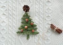 Weihnachtskonzept mit Fichte, Tannenbaum, Kegelana-Nüsse auf Weiß strickte Hintergrund Mit zusätzlichem vektorformat Abbildung de Stockfoto
