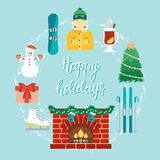 Weihnachtskonzept mit Ikonen im flachen Design und die geschriebene Hand drücken frohe Feiertage aus Weihnachts- und Skiortattrib Lizenzfreie Stockbilder