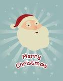 Weihnachtskonzept: Sankt frohe Weihnacht-Wunsch mit lächelndem Gesicht Stockbilder