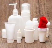 Weihnachtskosmetik für Gesicht und Körperpflege Lizenzfreie Stockfotografie