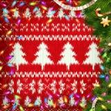 Weihnachtskranz auf Rot ENV 10 Lizenzfreie Stockfotos