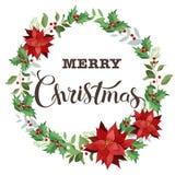 Weihnachtskranz der roten Poinsettias und der Blätter Dekoratives Bild einer Flugwesenschwalbe ein Blatt Papier in seinem Schnabe Lizenzfreie Stockbilder