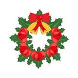 Weihnachtskranz im flachen Design Stockbild