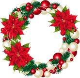 Weihnachtskranz, lokalisiert auf weißer Vektorillustration Lizenzfreie Stockfotos