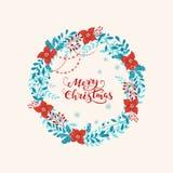 Weihnachtskranz mit Beschriftung lizenzfreie abbildung