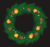 Weihnachtskranz mit Kegeln, Tangerinen vektor abbildung