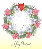 Weihnachtskranz mit Poinsettia-Blumen Stockbild