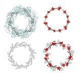 Weihnachtskranz mit Poinsettia und Beeren Schablone für seaso lizenzfreie abbildung