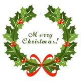 Weihnachtskranz mit rotem Bogen Lizenzfreies Stockbild