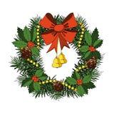 Weihnachtskranz mit rotem Bogen, Bell, Stechpalme, Kegel Lizenzfreies Stockfoto