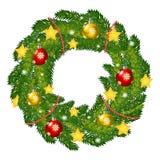 Weihnachtskranz mit Tanne, Illustration Stockfotografie