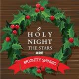 Weihnachtskranz mit Textfahne Vektor Lizenzfreie Stockbilder
