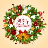 Weihnachtskranz mit Weihnachtsglocke, Bogengrußkarte Stockbild