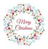 Weihnachtskranz-Vektorillustration Glückwünsche der frohen Weihnachten Stockfoto