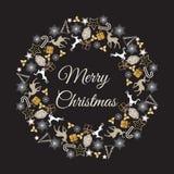 Weihnachtskranz-Vektorillustration Glückwünsche der frohen Weihnachten Lizenzfreie Stockbilder